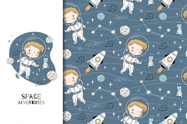 Cartoon kleiner junge kosmonautenkarte und nahtloses musterset. hand gezeichnete illustration.