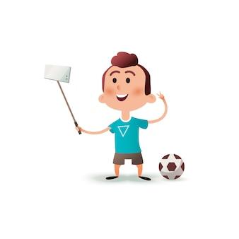 Cartoon kleiner junge macht selfie