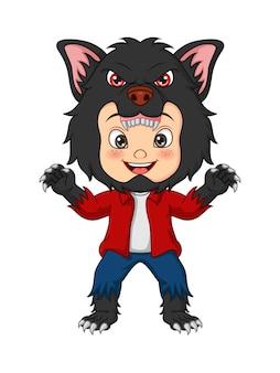 Cartoon kleiner junge mit werwolf-kostüm zum feiern von halloween