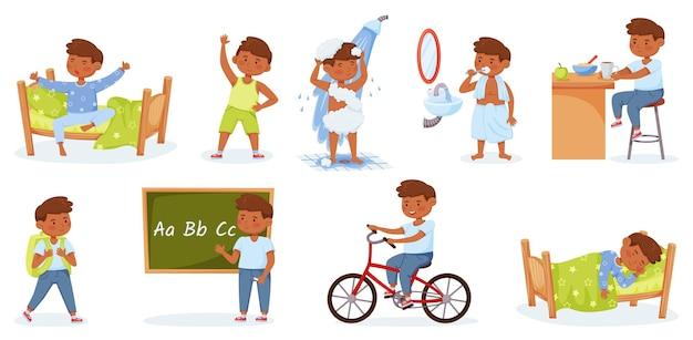 Cartoon kleiner junge tägliche routineaktivitäten glückliches kind wacht auf und trainiert das studium des vektorsatzes