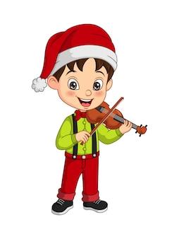Cartoon kleiner junge trägt weihnachtskostüm geige spielen