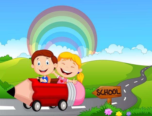 Cartoon kleines kind zur schule gehen