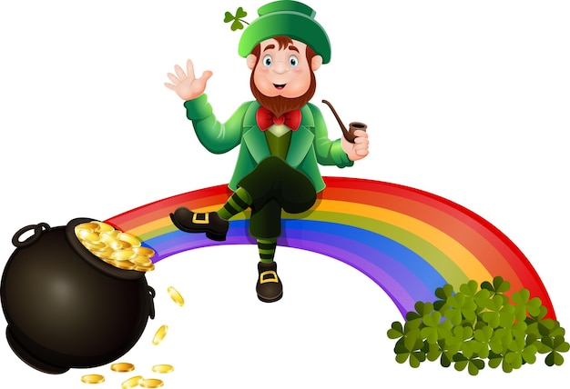 Cartoon-kobold, der auf dem regenbogen sitzt