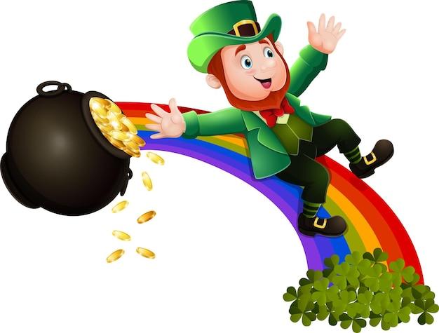 Cartoon-kobold, der den regenbogen hinunterrutscht