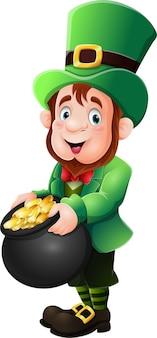 Cartoon-kobold mit goldmünze