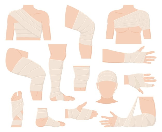 Cartoon körperlich verletzte körperteile in verbandanwendungen. verbundene menschliche körperteile, geschützte wunden, frakturen und schnitte, vektorgrafiken. medizinische bandagen. verbandbruch und gips