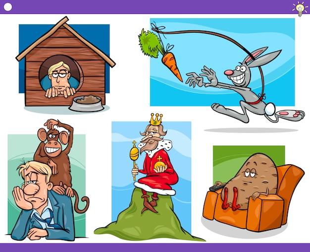 Cartoon-konzepte und ideen gesetzt