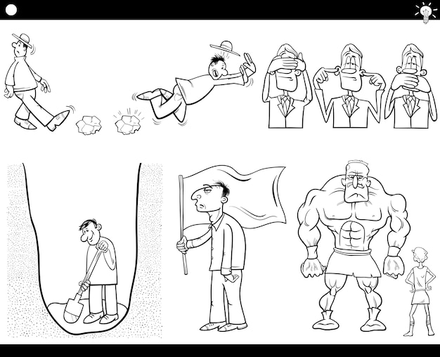 Cartoon-konzepte und sprüche gesetzt