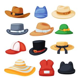 Cartoon kopfbedeckung cowboyhut fedora strand sonnenhut baseballmütze schwarz zylinder set black