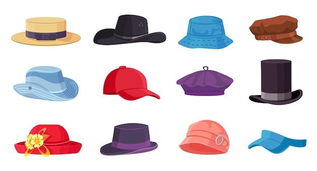 Cartoon-kopfbedeckungen. sommermännliche und weibliche modehüte, mütze, baskenmütze und zylinder. cowboy und strohhut. vintage kleidung zubehör vektor-set. illustration kopfschmuck, mütze tragen