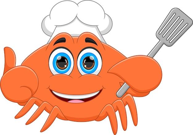 Cartoon-krabbe hält einen spatel und daumen hoch