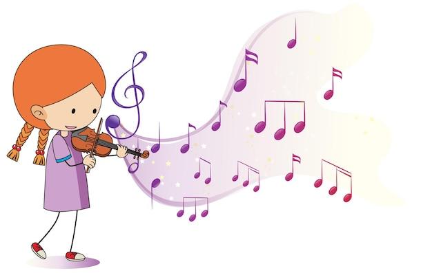 Cartoon kritzelt ein mädchen, das geige mit melodiesymbolen auf weißem hintergrund spielt