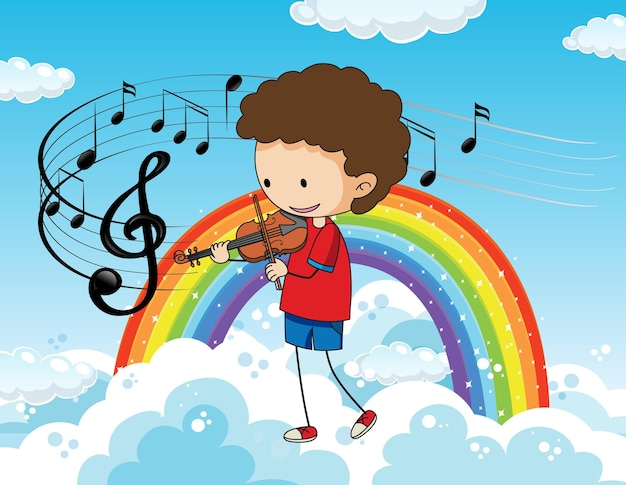 Cartoon kritzelt einen jungen, der geige am himmel mit regenbogen spielt
