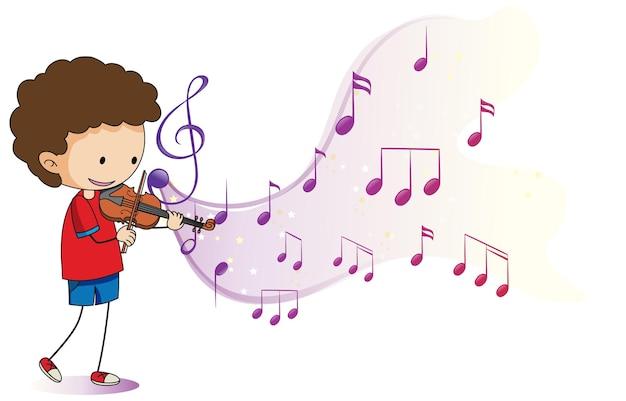 Cartoon kritzelt einen jungen, der geige mit melodiesymbolen auf weißem hintergrund spielt