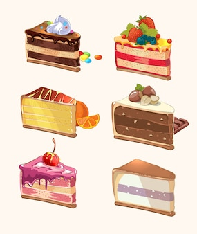 Cartoon-kuchenstücke. snack lecker, beere und lecker, kuchen mit kirsche, süßes essen, dessertstück. vektorillustration