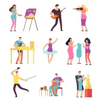 Cartoon-künstler und musiker isolierten charaktere in kreativen künstlerischen hobbys