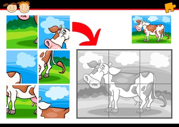 Cartoon kuh puzzle-spiel