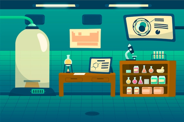 Cartoon laborraum mit wissenschaftlichen elementen