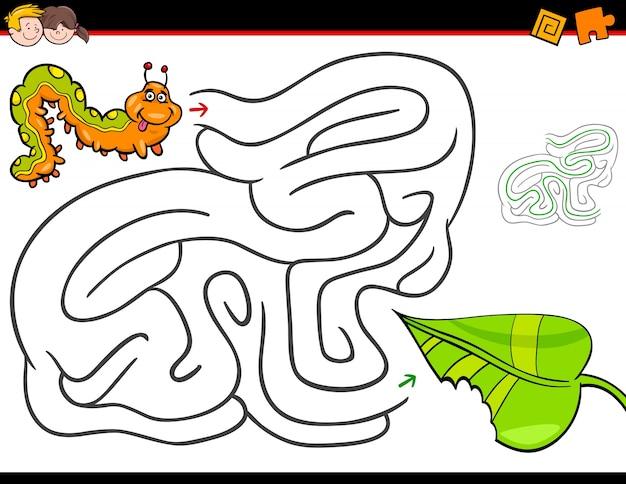 Cartoon-labyrinth-aktivität mit raupe und blatt