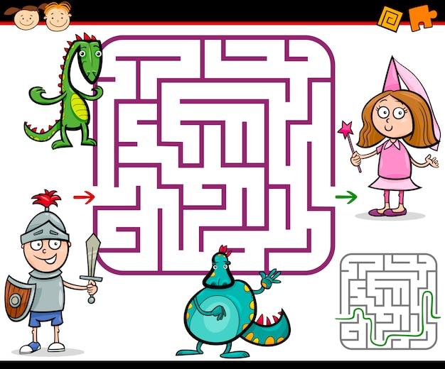 Cartoon-labyrinth oder labyrinth-spiel
