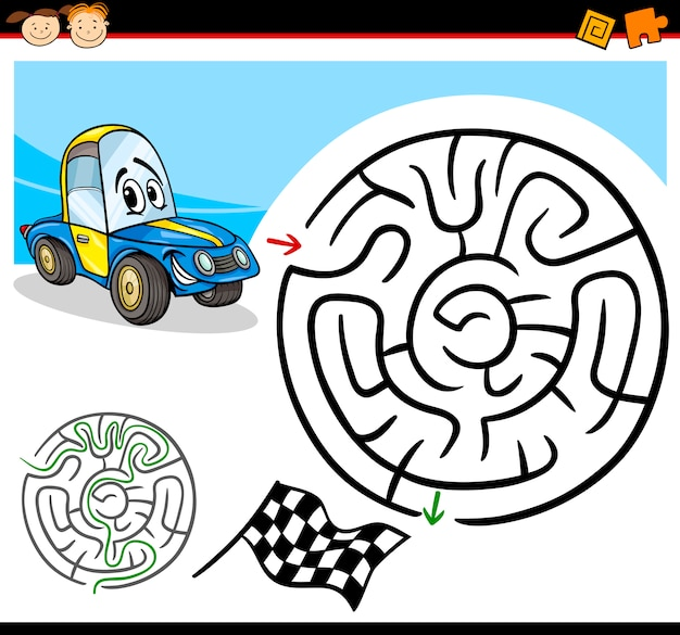 Cartoon-labyrinth oder labyrinth-spiel