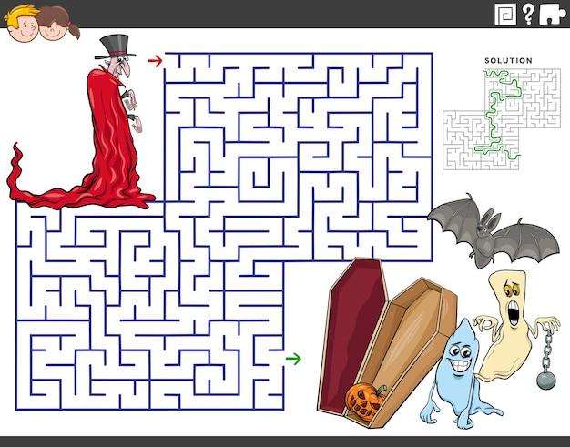 Cartoon-labyrinth-puzzle-spiel mit vampir- und halloween-figuren