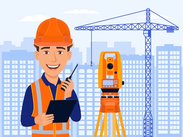 Cartoon lächeln architekt mit totalstation und messgeräte