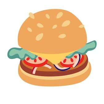 Cartoon leckere hamburger-symbol. vektorgrafik eines hamburgers mit käse, tomaten, salat, zwiebeln, gurken und sesamsamen in einem flachen cartoon-stil. illustration für fast-food-menü-design.