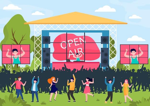 Cartoon-leute, die beim open-air-festival unterhalten