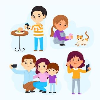 Cartoon-leute, die fotos mit dem telefon machen