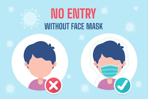 Cartoon-leute, die masken tragen richtlinien für die nutzung von diensten während des ausbruchs des covid-19-virus