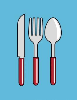 Cartoon löffel gabel messer küche design Kostenlosen Vektoren