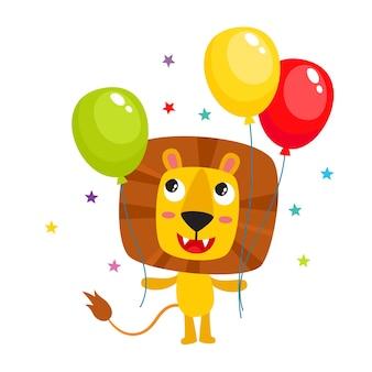 Cartoon-löwe isoliert auf weißem, süßem und lustigem tiercharakter mit luftballons zum geburtstag