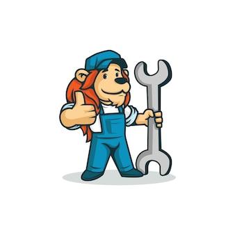 Cartoon löwe zeigt mit einem schraubenschlüssel. daumen hoch machen.