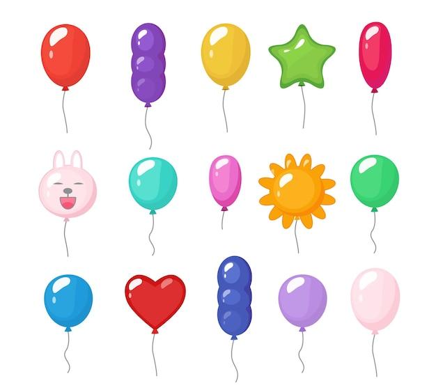 Cartoon luftballons. festliche unterhaltung helle reflexionen farbige gegenstände glänzendes flugspielzeug für party-gummi-luftballons.