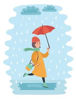 Cartoon lustig von herbstmädchen, das im mantel auf der straße läuft und im regen mit ubrella eine pfütze trägt. regen- und windwetter.