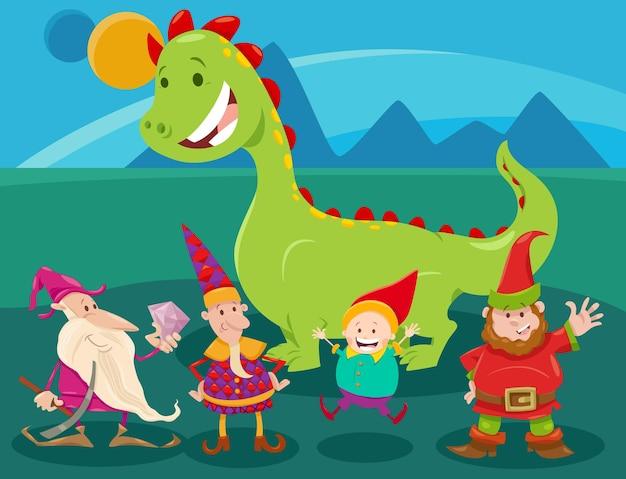 Cartoon lustige fantasy-charaktere gruppe