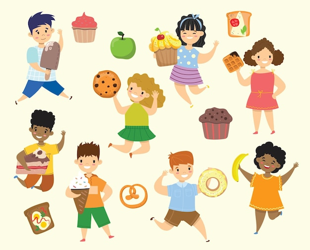 Cartoon lustige freunde fast food - coockie, waffel, donut, brezel, croissant im flachen stil