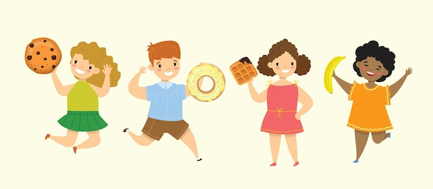 Cartoon lustige freunde fast food coockie waffel donut brezel croissant