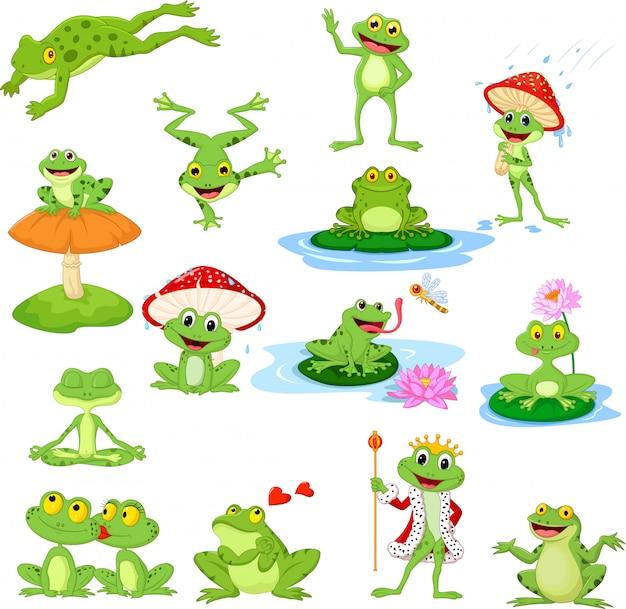 Cartoon lustige frosch sammlung set Premium Vektoren