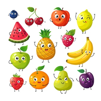Cartoon lustige früchte. glückliche kiwibananenhimbeerorange kirsche mit gesicht.