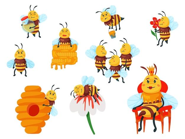 Cartoon lustige gelbe biene maskottchen und honigbiene familienset. fliegen mit honigbeschäftigtem insekt, riechender blume und ruhendem charakter, bienenkönigin und bienenstock-vektorillustration einzeln auf weißem hintergrund