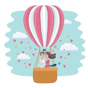 Cartoon lustige illustration der liebe, die paar in einem heißluftballon küsst