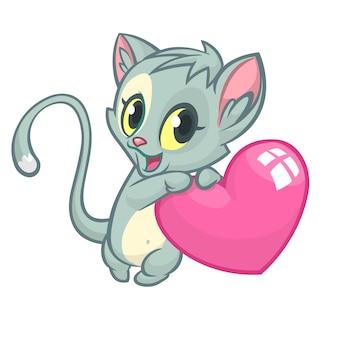 Cartoon lustige katze, die eine herzliebe hält. illustration zum valentinstag.