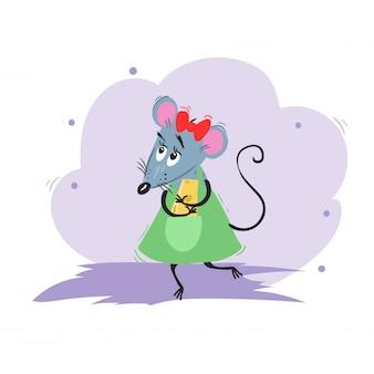 Cartoon lustige mädchenmaus, die mit käse tanzt. chinesisches symbol für das jahr 2020. comic weibliches maskottchen. ratten- oder mauszeichen. nagetier tier.
