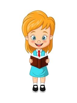 Cartoon lustige studentin steht und liest ein buch