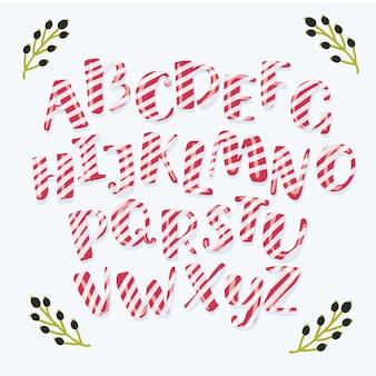 Cartoon lustige weihnachten gestreifte süßigkeiten alphabet buchstaben