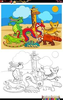 Cartoon lustige wilde tiere gruppe malbuch seite