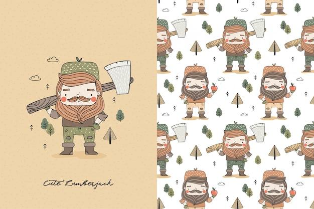 Cartoon lustiger holzfäller mit axt. männlicher arbeiter-hipster-charakter. illustration und mustersatz