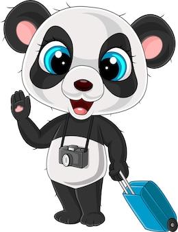 Cartoon lustiger panda mit kamera und gepäck